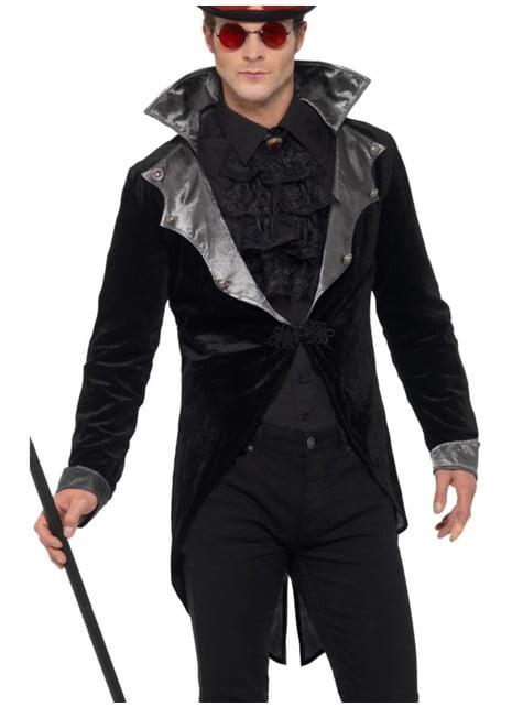 Chaqueta de vampiro gótico negra para hombre