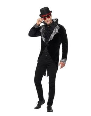 Zwarte gothic vampier jas voor mannen