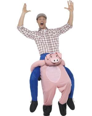Costum de porc ride on pentru adult