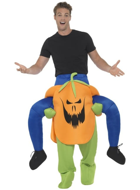 Evil pumpkin ride on costume for adults
