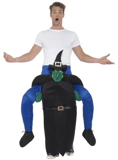 Зеленая ведьма катается на костюме для взрослых