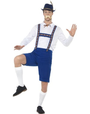 Bayer Oktoberfest Lederhose Kostüm blau für Herren