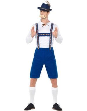 Blått Bayersk Oktoberfest kostyme til menn