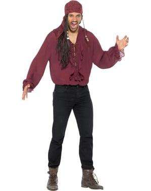 Rødbrun pirat skjorte med blonder til menn