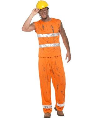 Costume da minatore arancione per uomo