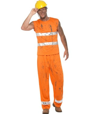 Maskeraddräkt gruvarbetare orange vuxen