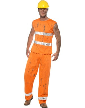 Orange miner costume for men