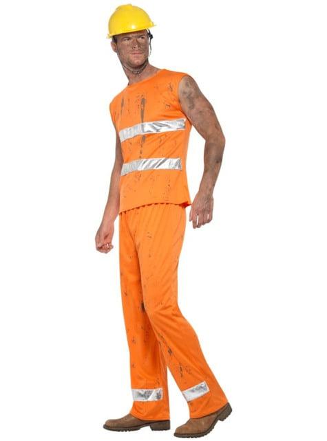 Disfraz de minero naranja para hombre - traje
