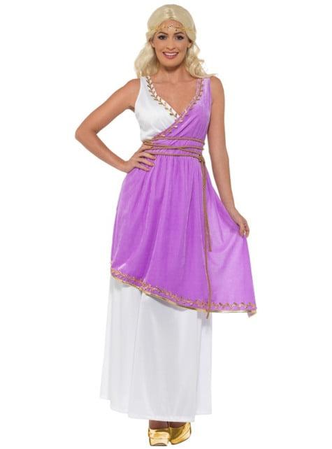 Disfraz de diosa griega morada para mujer