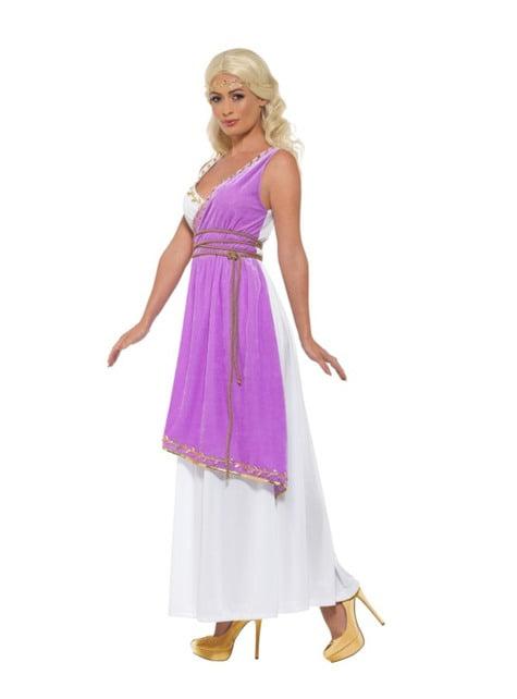 Disfraz de diosa griega morada para mujer - traje