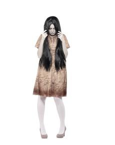 Disfraz de espíritu maligno gris para mujer