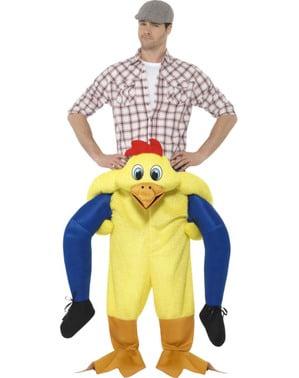 Geel kip rij mee kostuum voor volwassenen