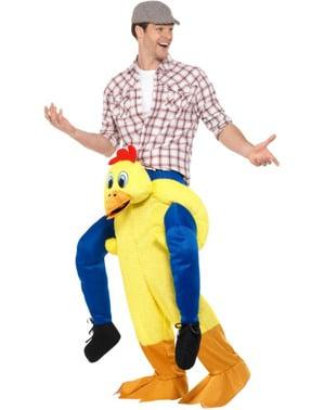 Huhn Ride On Kostüm gelb für Erwachsene