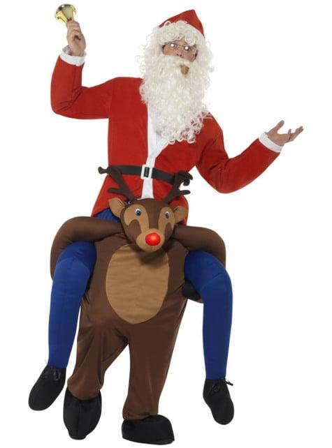 Fato de rena Rudolph ride on para adulto