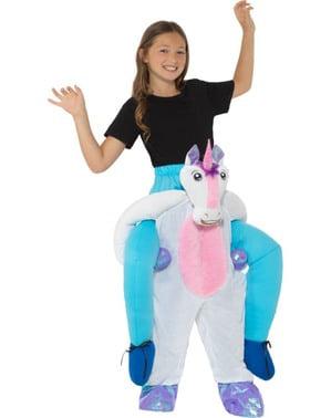 Hvit enhjørning ri-på kostyme til barn