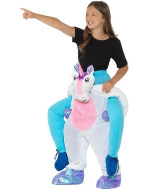 Costum ride on de unicorn alb pentru copii