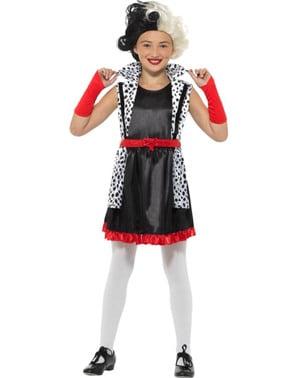 Slechterik Cruella kostuum voor meisjes