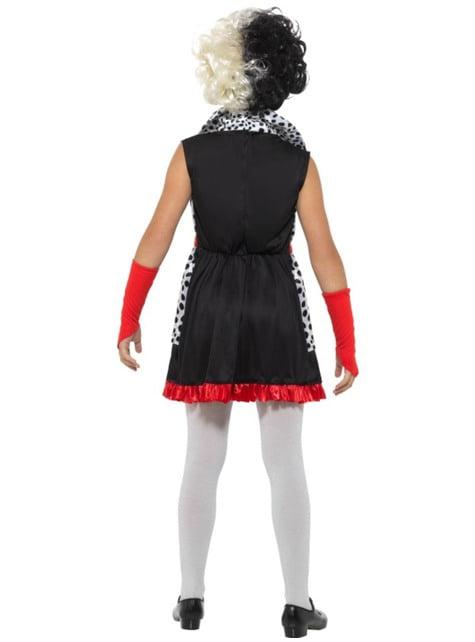Disfraz de villana Cruella para niña - original
