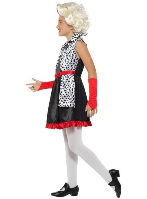 Disfraz de villana Cruella para niña - traje