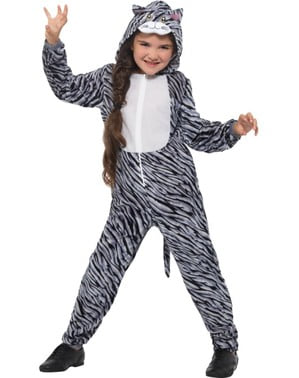 Grå stribet killing kostume til børn