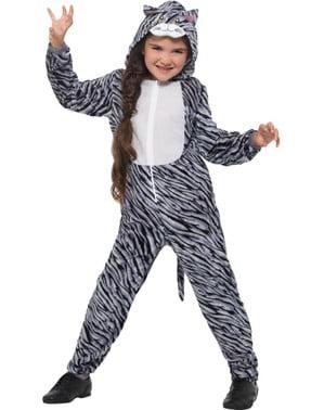 Grijs gestreept kitten kostuum voor kinderen
