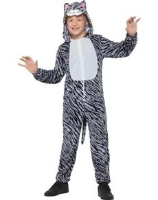 Disfraz de gatito rayada gris infantil