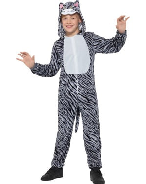 Grey striped kitten costume for kids