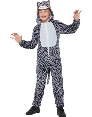 Szary kostium pręgowanego kota dla dzieci