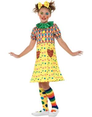 Farverigt lille klovn kostume til piger