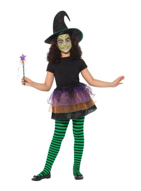 Kit disfraz de brujita verde para niña
