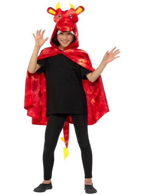 Capa de dragón rojo para infantil - para tu disfraz