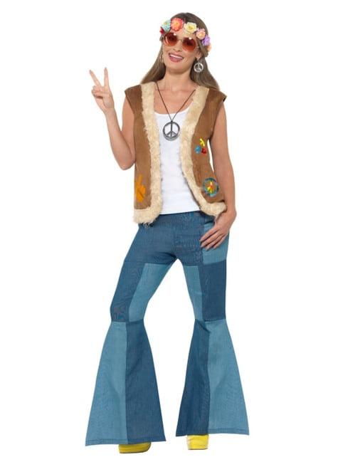 Chaleco hippie marrón para adulto - adulto