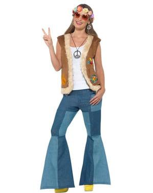 Väst hippie brun för vuxen