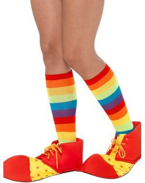 Tapa botas de palhaço vermelho e amarelo para adulto