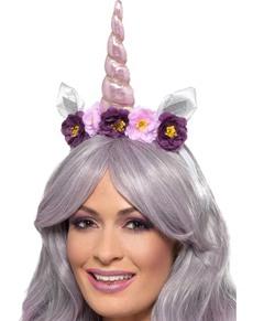Diadema de cuerno de unicornio morado para adulto