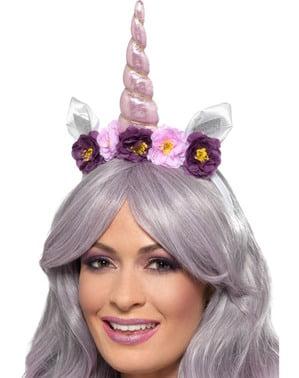 Diademă cu corn de unicorn mov pentru adult