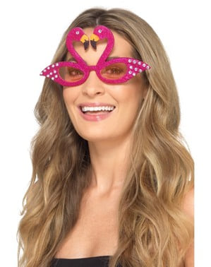 Glasögon flamingo rosa med briljanter