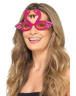 Rosa flamingo briller med glitter