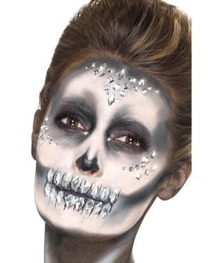 Sett med 100 sølv ansikts smykkesteiner
