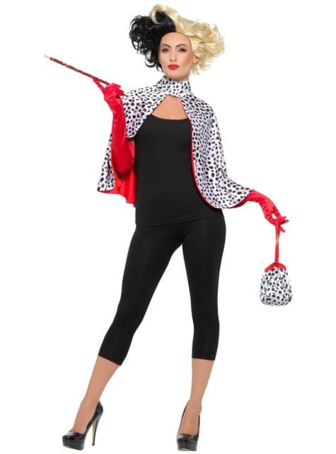Kit disfraz de villana Cruella para mujer