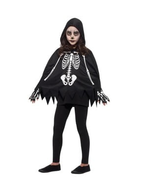 Poncho de esqueleto infantil