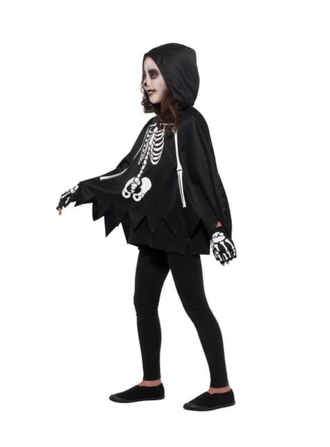 Poncho de esqueleto infantil - traje