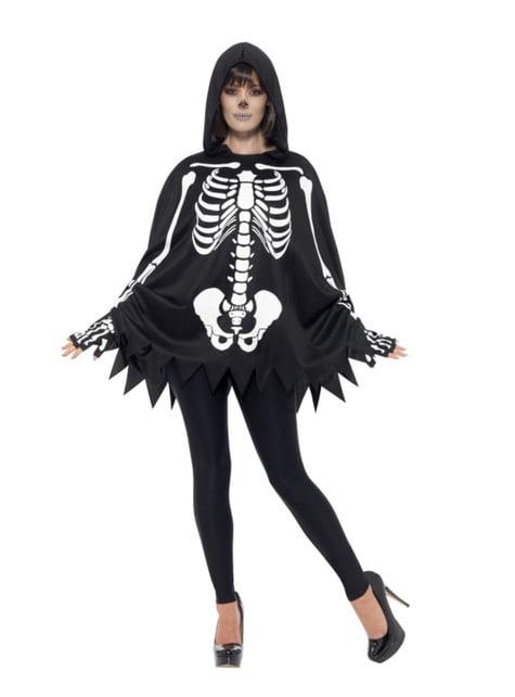 Poncho de esqueleto para adulto