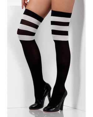 Stripete cheerleader strømper til dame