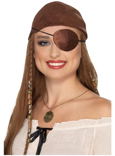 Pirátská páska přes oko pro dospělé hnědá