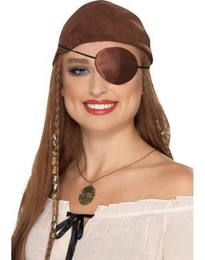 Piraten Augenklappe braun für Erwachsene
