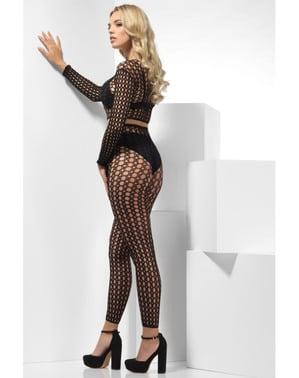 Zwart visnet lingerie voor vrouw