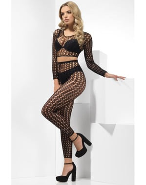 Black fishnet lingerie for women