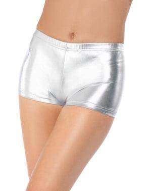 Kurze Hose silber für Damen