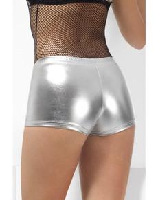 Pantalón corto plateado para mujer